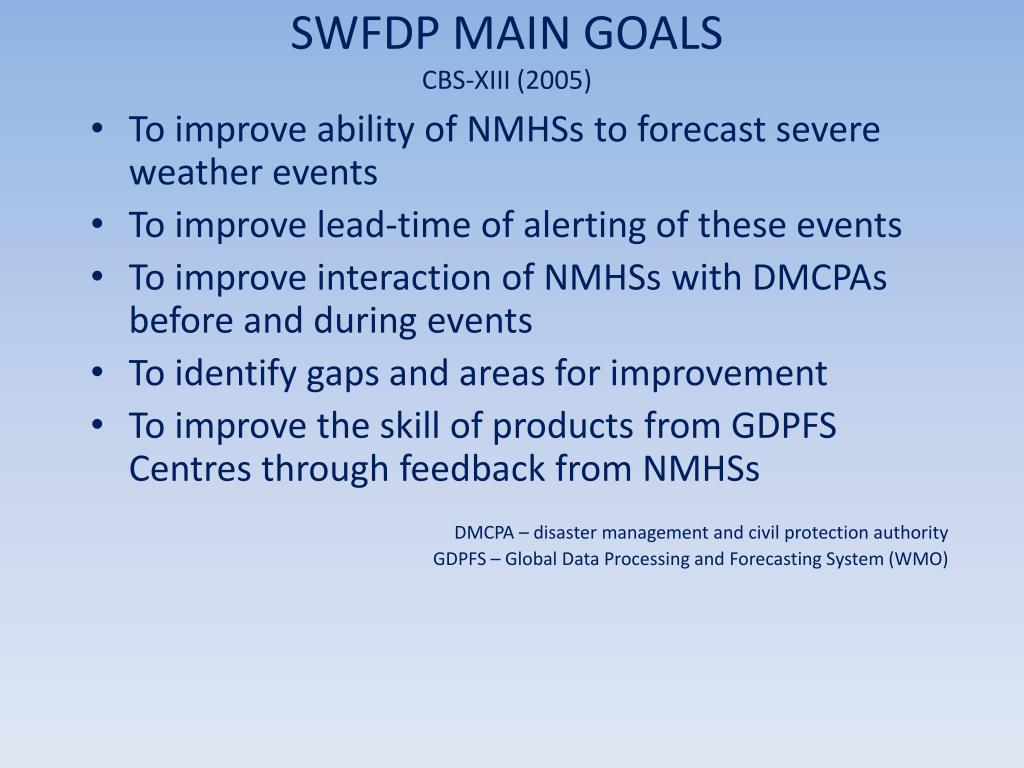 SWFDP MAIN GOALS