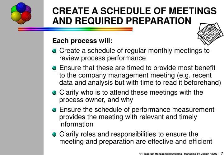 CREATE A SCHEDULE OF MEETINGS