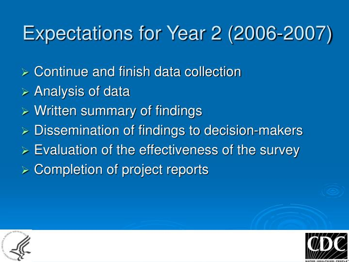 Expectations for Year 2 (2006-2007)