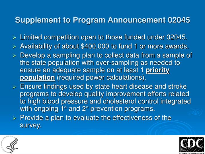 Supplement to program announcement 02045