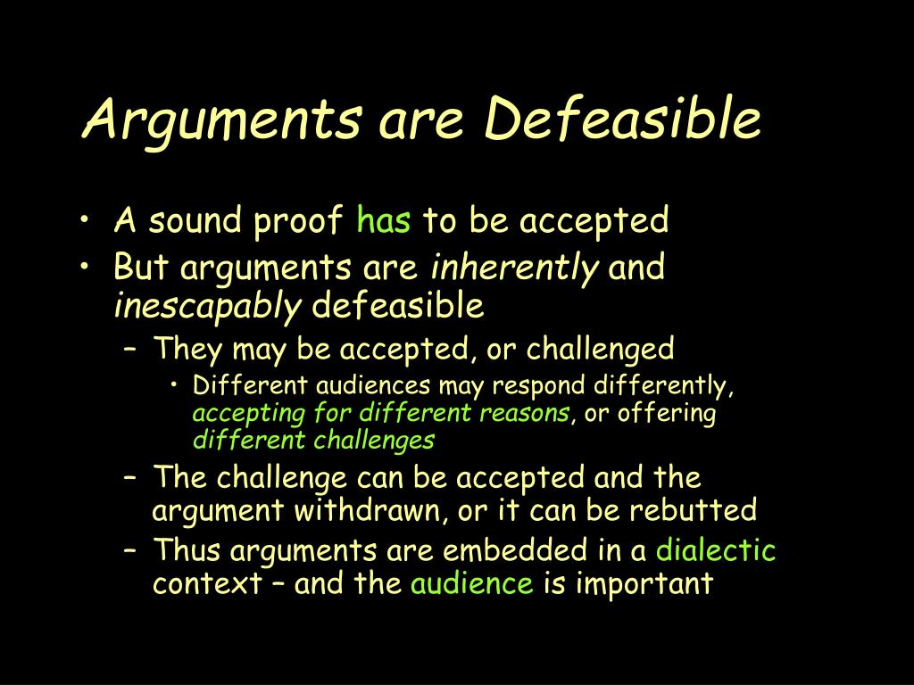 Arguments are Defeasible