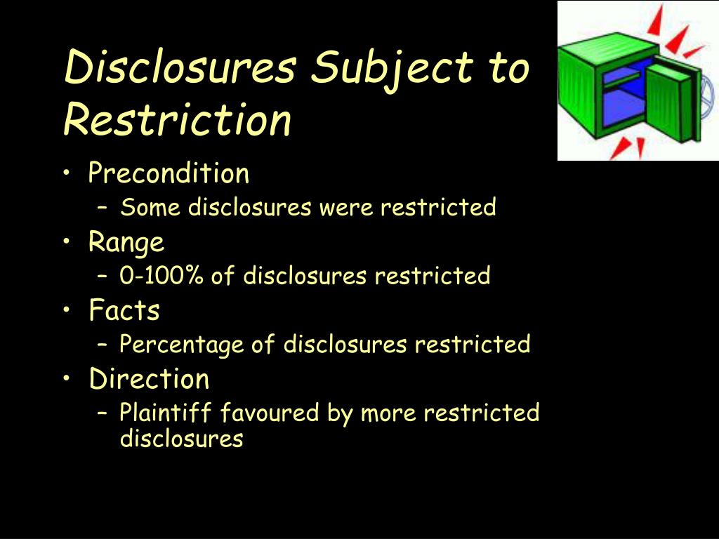 Disclosures Subject to Restriction
