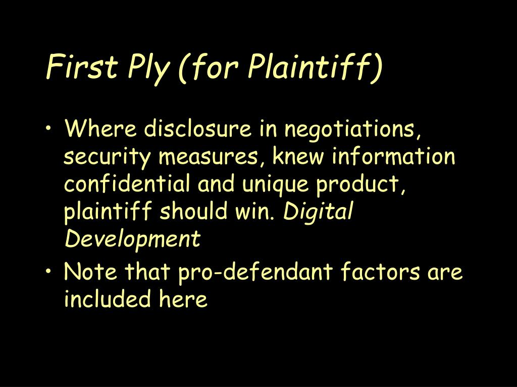 First Ply (for Plaintiff)