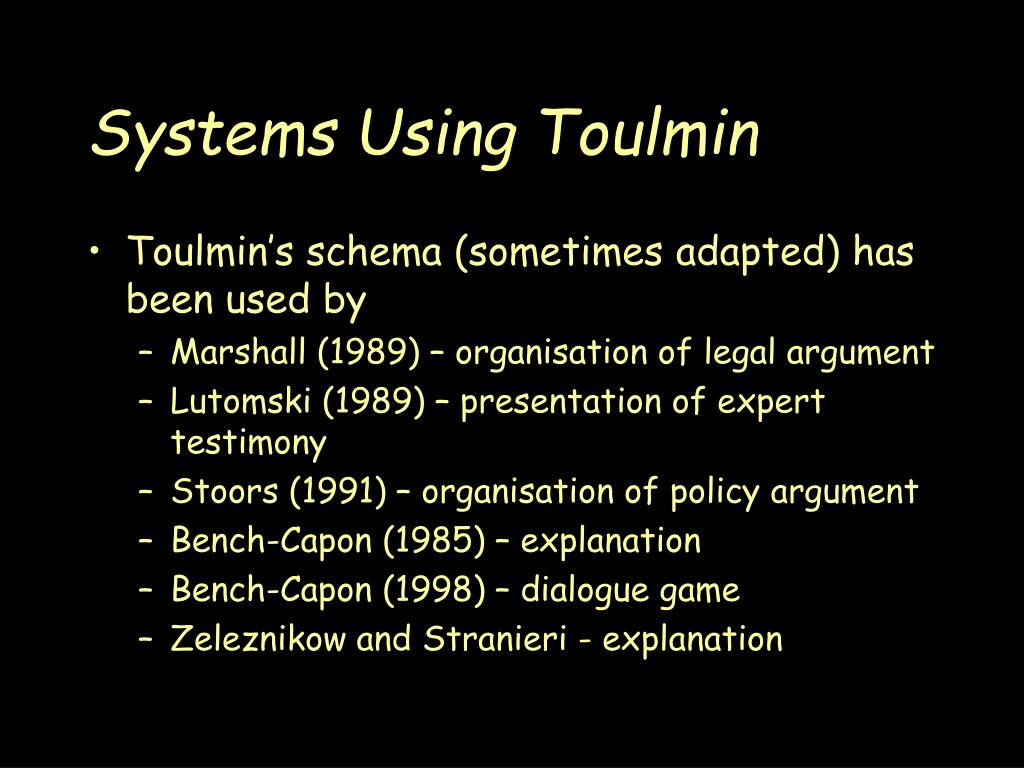 Systems Using Toulmin