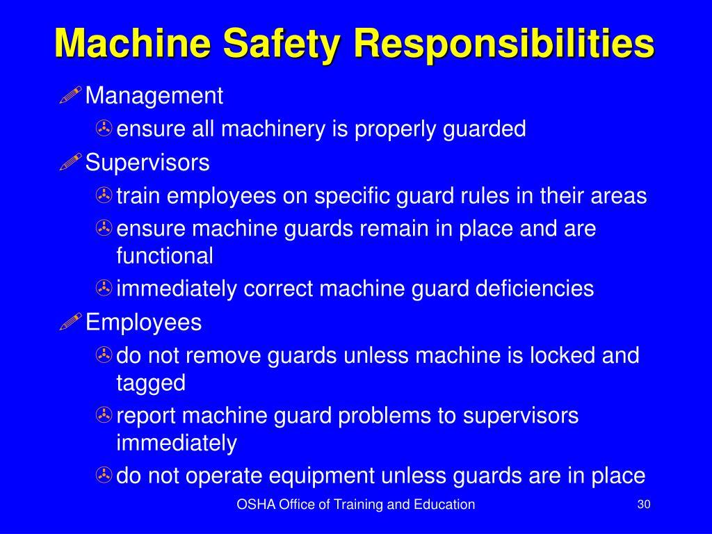 Machine Safety Responsibilities