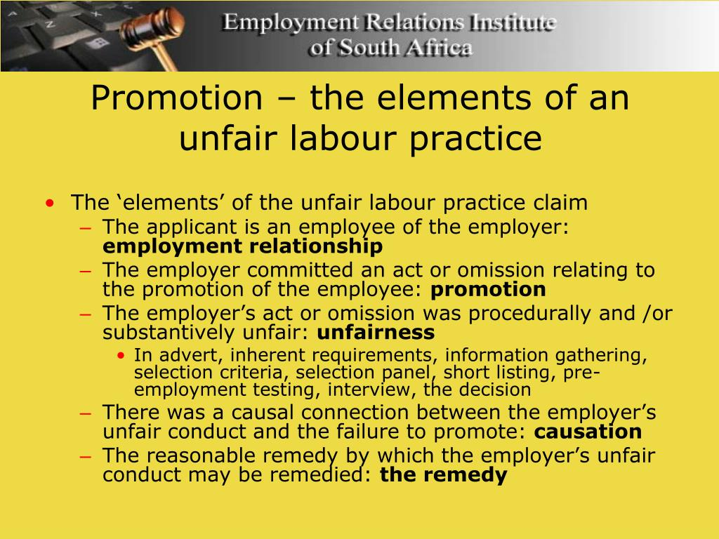 Promotion – the elements of an  unfair labour practice