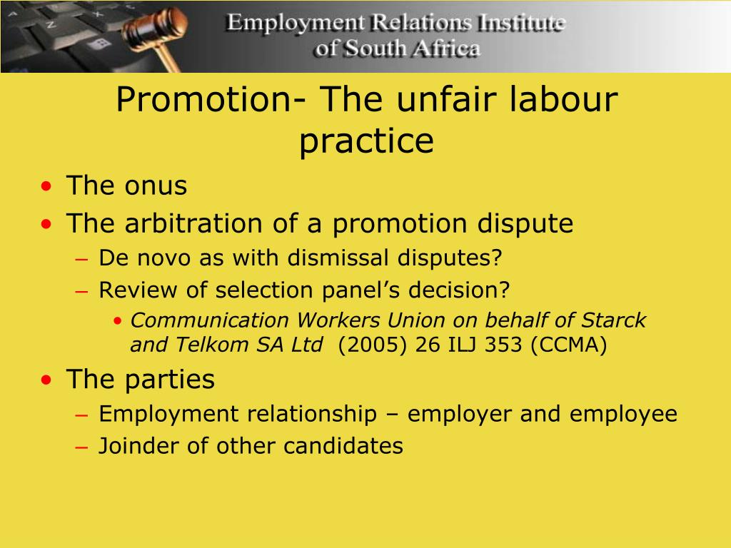 Promotion- The unfair labour practice