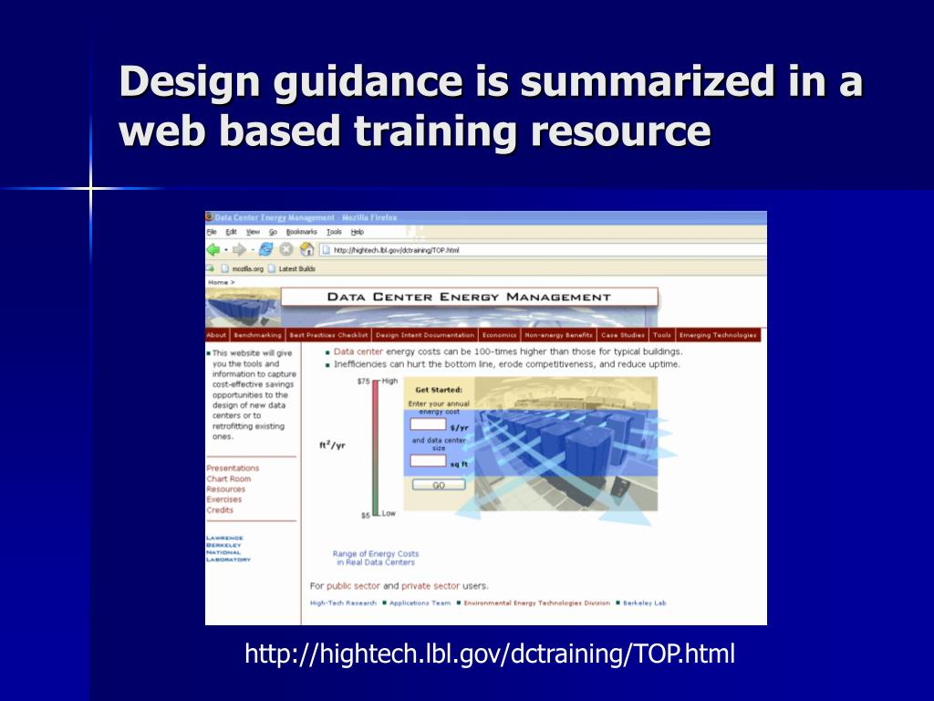 Design guidance is summarized in a web based training resource