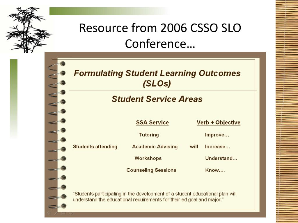 Resource from 2006 CSSO SLO Conference…