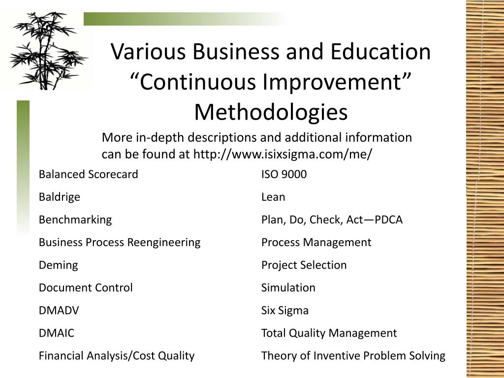 "Various Business and Education ""Continuous Improvement"" Methodologies"