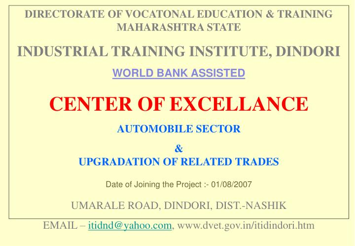 DIRECTORATE OF VOCATONAL EDUCATION & TRAINING MAHARASHTRA STATE