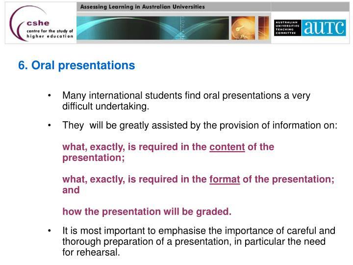 6. Oral presentations