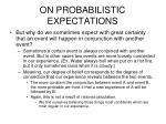 on probabilistic expectations