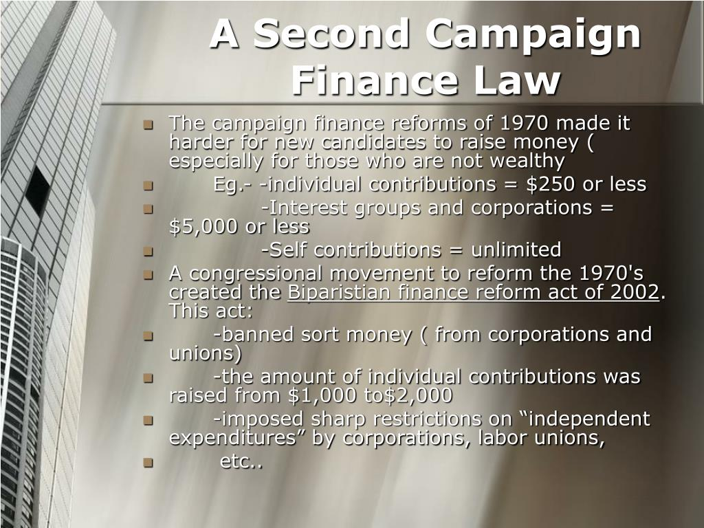 A Second Campaign Finance Law