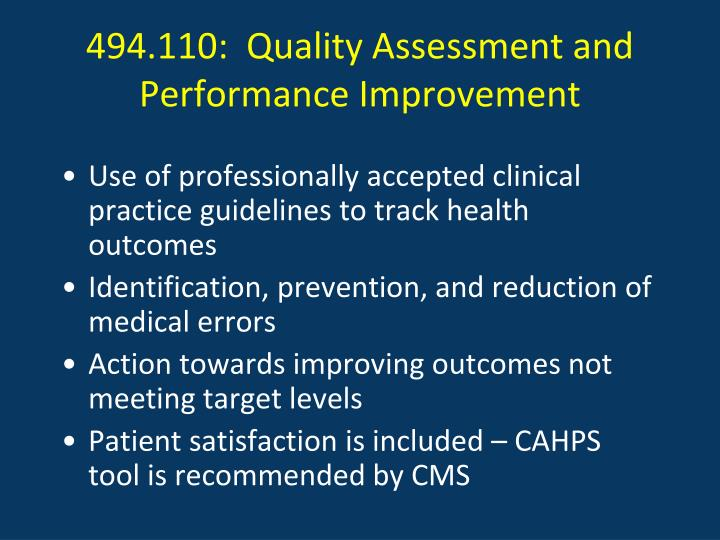 494.110:  Quality Assessment and Performance Improvement