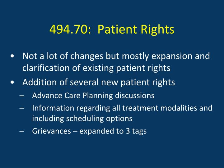 494.70:  Patient Rights