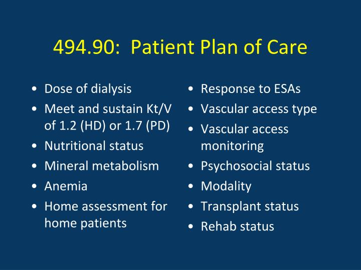494.90:  Patient Plan of Care