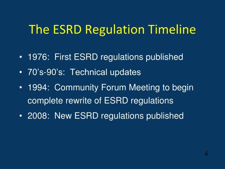The ESRD Regulation Timeline