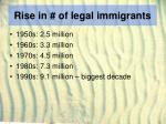 rise in of legal immigrants
