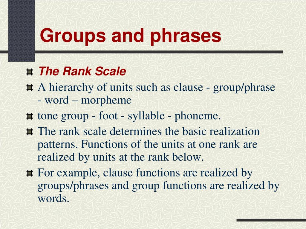 Groups and phrases