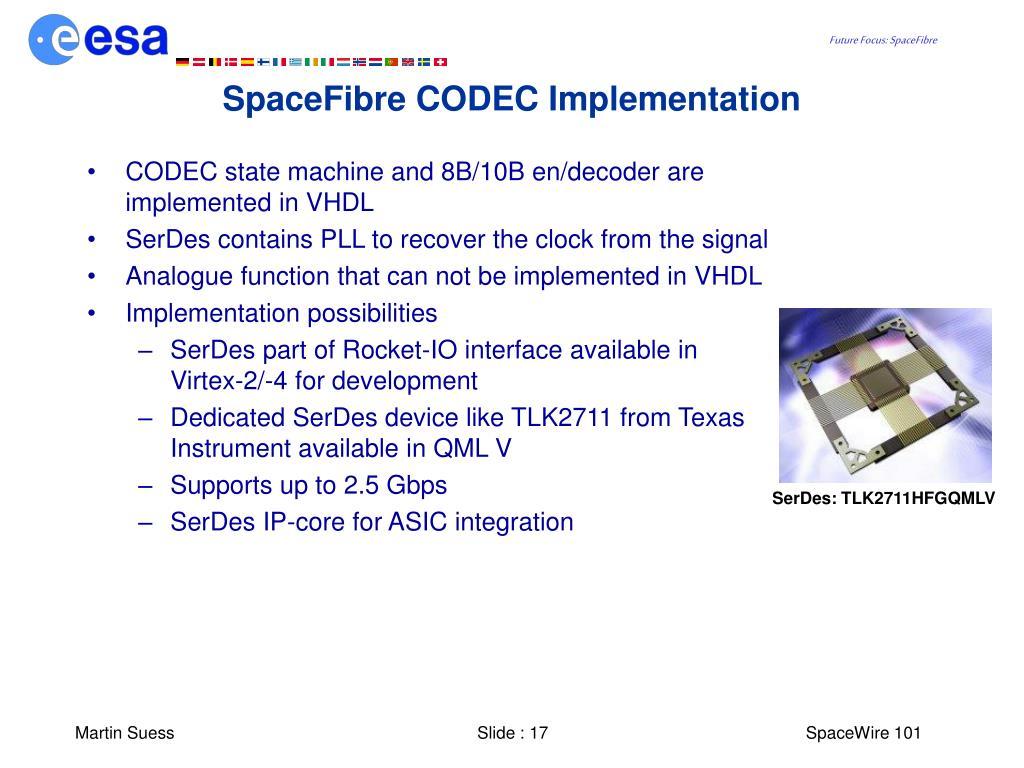 SpaceFibre CODEC Implementation