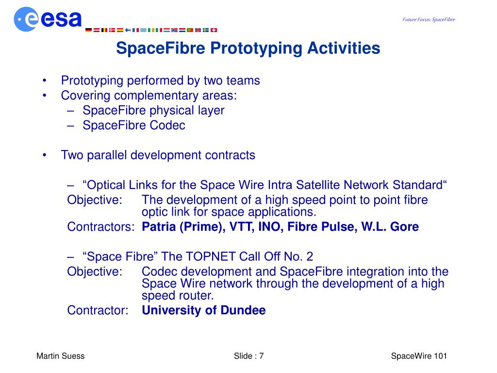 SpaceFibre Prototyping Activities