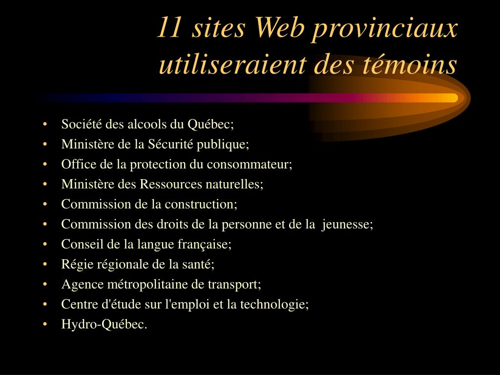11 sites Web provinciaux