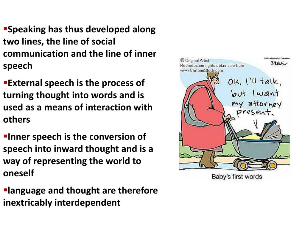 Speaking has thus developed along two lines, the line of social communication and the line of inner speech