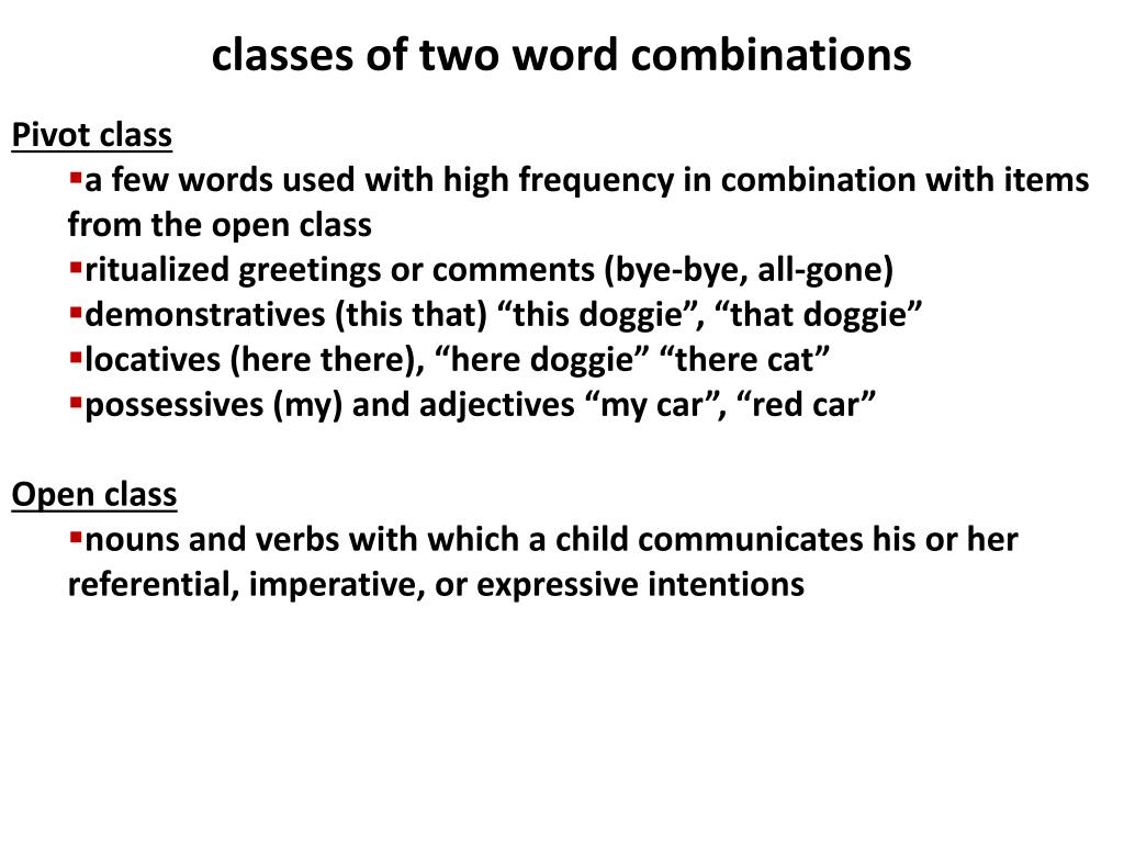 classes of two word combinations