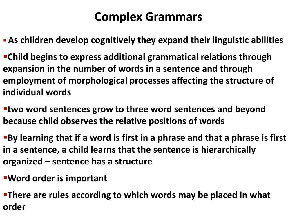 Complex Grammars