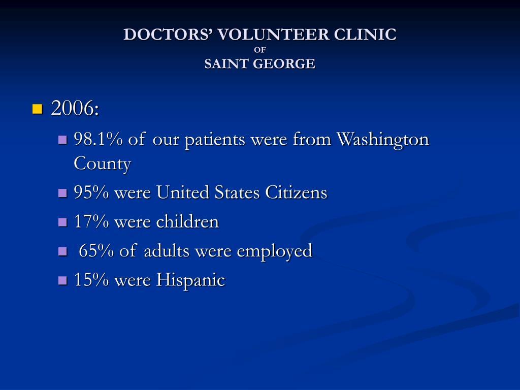 DOCTORS' VOLUNTEER CLINIC