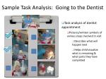 sample task analysis going to the dentist