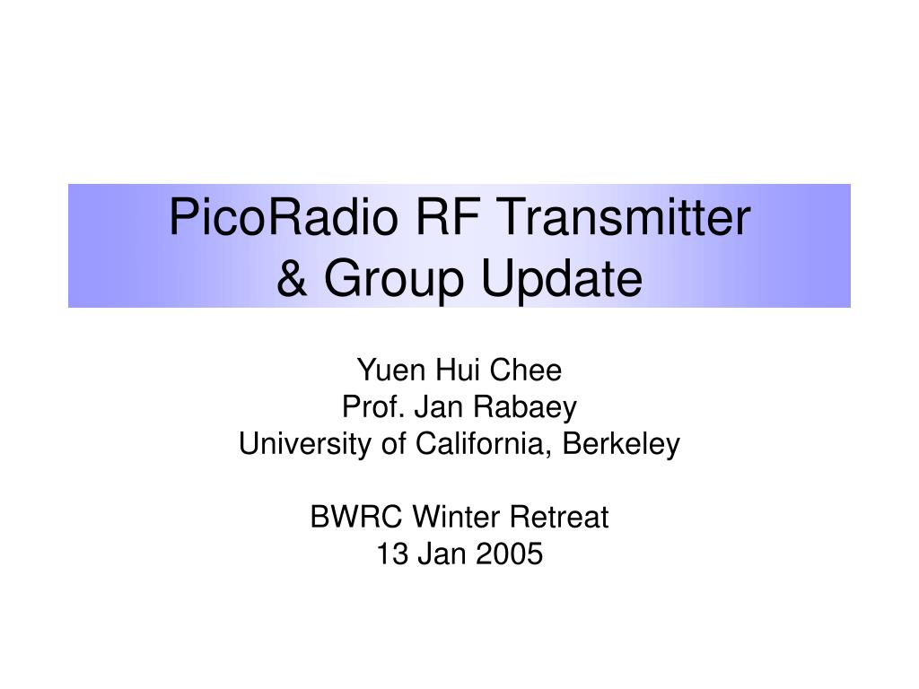 picoradio rf transmitter group update l.