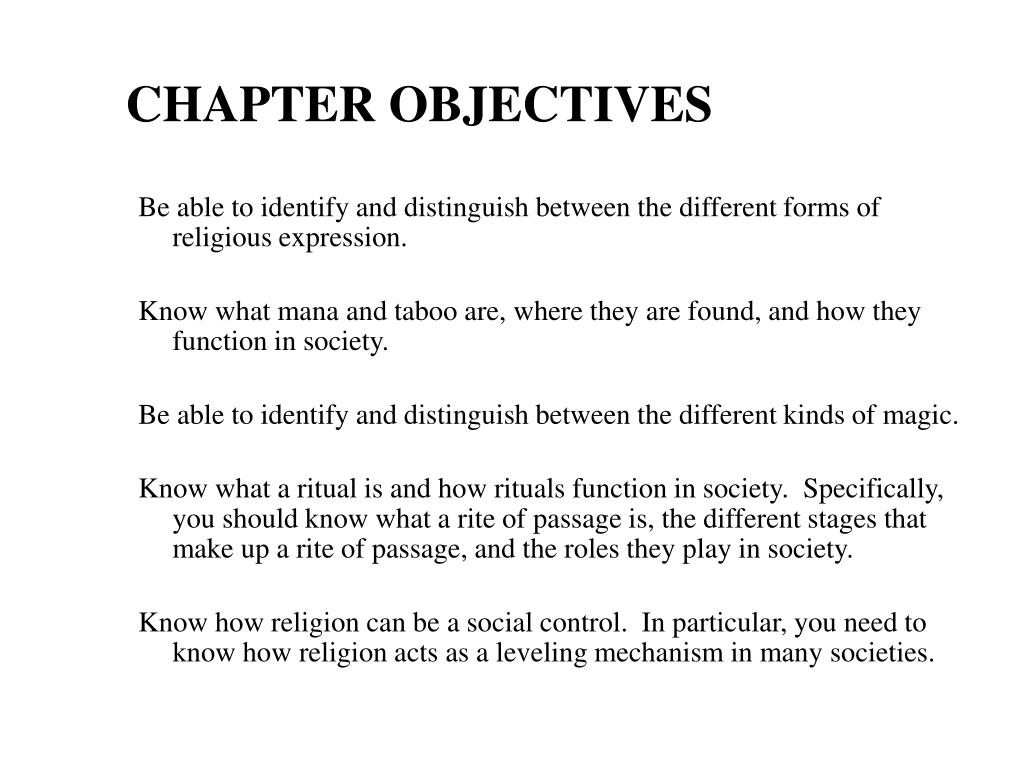 chapter objectives l.