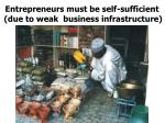 entrepreneurs must be self sufficient due to weak business infrastructure