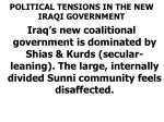 political tensions in the new iraqi government