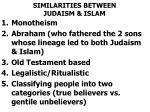 similarities between judaism islam