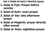 the 5 times of daily prayer salat