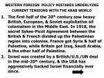 western foreign policy mistakes underlying current tensions with the arab world