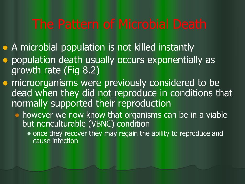 The Pattern of Microbial Death