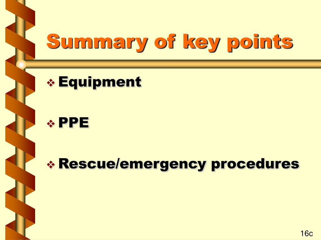Summary of key points