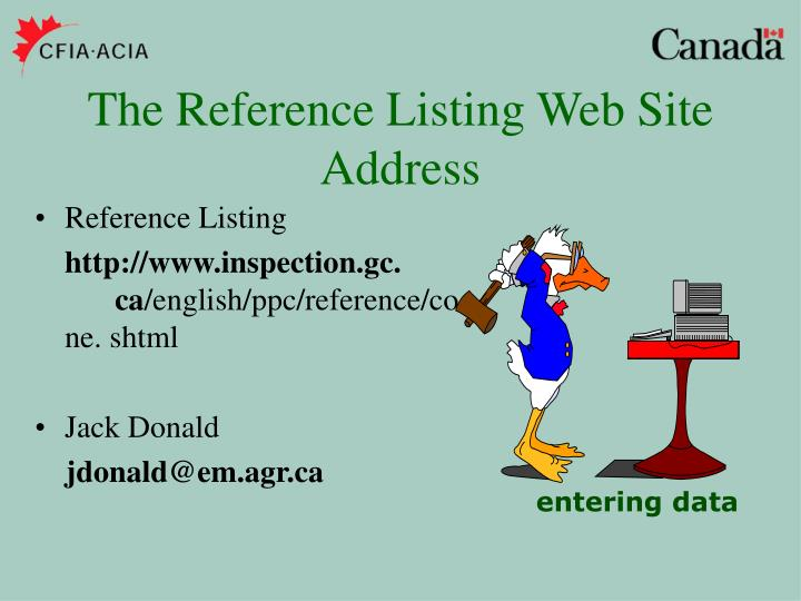 The Reference Listing Web Site Address