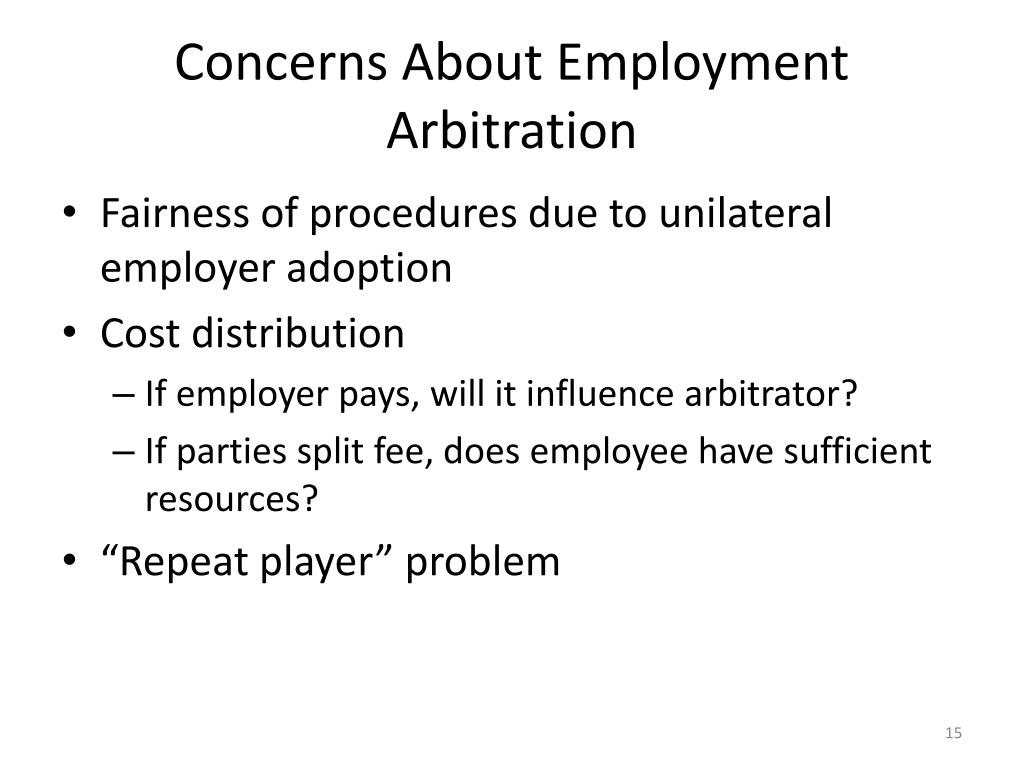 Concerns About Employment Arbitration