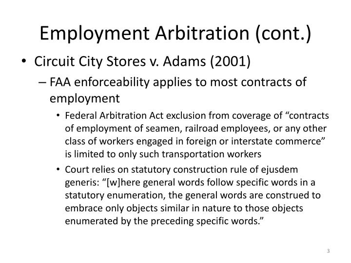 Employment arbitration cont3
