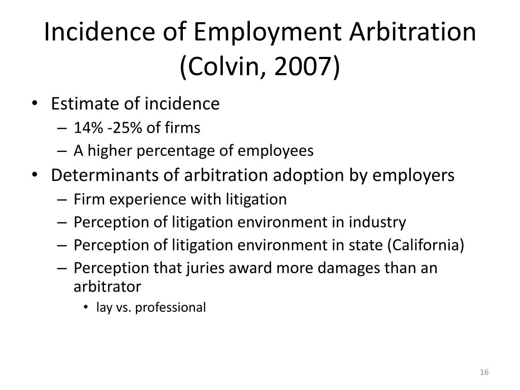 Incidence of Employment Arbitration (Colvin, 2007)