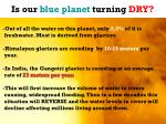 is our blue planet turning dry