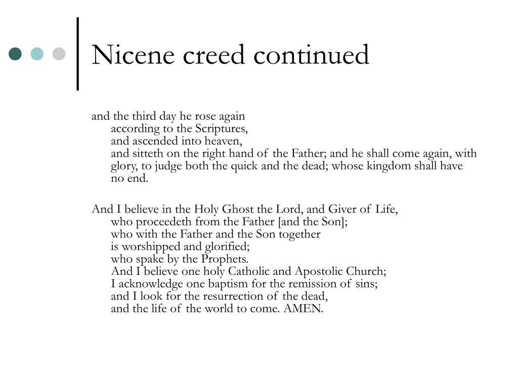 Nicene creed continued