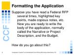 formatting the application