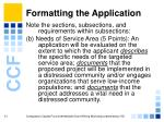 formatting the application11