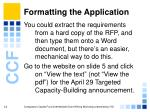 formatting the application12